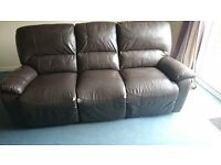 Leather sofa (three piece, brown)