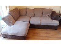 Brown corner sofa, fabric in good condition