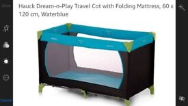 BRAND NEW TRAVEL COT & THICK MATRESS