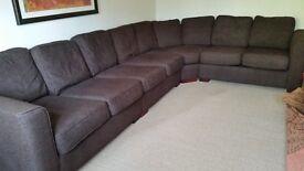 Corner Sofa - Brown Woven Fabric - 7 Seater Minimum