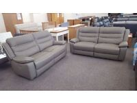 Ex Display SCS Neso 2 Grey Leather 3 Seater Electric Recliner Sofas **CAN DELIVER**