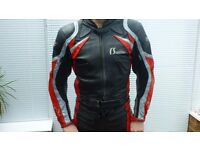 2 piece bike leather suit size medium Red and Grey