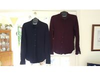 "Two ZARA Mens Collarless Shirts Slim Fit (Size 38"" chest)"