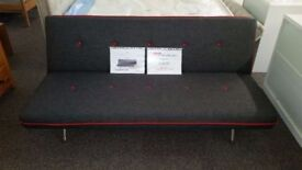 Ex Display Made Miki Sofa Bed in Cygnet Grey With Red Buttons **CAN DELIVER**