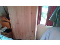Pine wardrobe for sale with side shelves and drawers