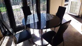 Black Granite Round Dining Table