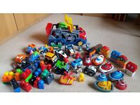 Mega Bloks Tiny 'n' Tuff Car Transporter with large selection of cars, boats, train and blocks