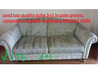 three seat +1 chair used fabric green based stripe suite in vgc top stuff