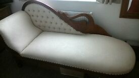 swan chaise lounge solid hardwood cream cloth