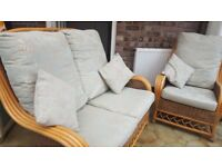 Two and one seater cane furniture set