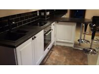 Italian made white gloss kitchen, worktop, sink etc