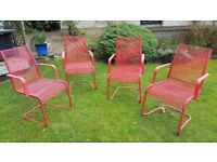 4x IKEA plastic garden chairs, red - for collection only