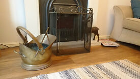 copper coal skuttle and fire screen