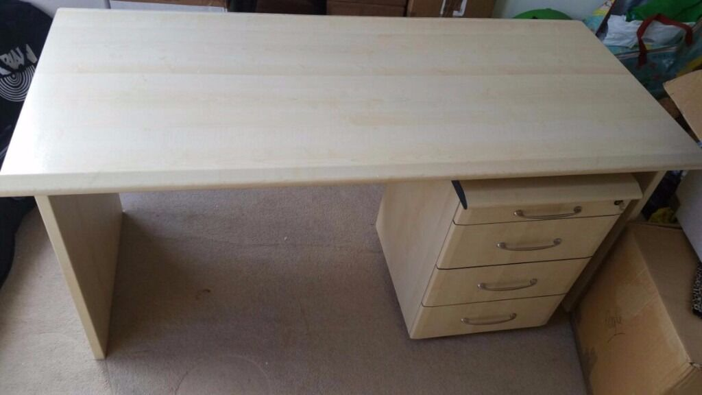 Next Large Beach Wood Desk With Roller Drawers