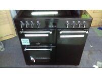 BELLING Kensington 90E Electric Ceramic Range Cooker - Black & Chrome ex display