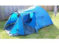 *SOLD, STC* 3 man tent, blue, Campus, built in groundsheet, storage area, v.g. condition