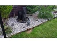 Modern black garden water fountain