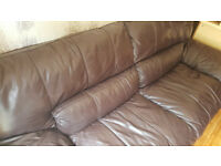 3 seater Charesma 100% Real Genuine Leather Sofa Chocolate with back support- Dfs