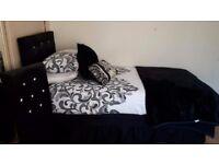 Black Velvet Single Headboard and Bedroom Chair