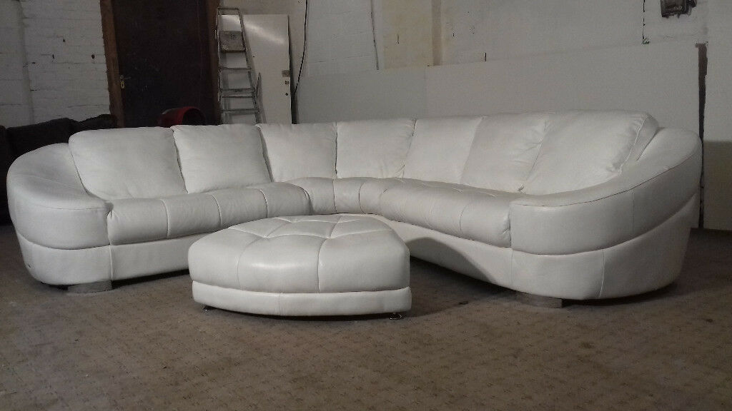 White Italsofa Corner Leather Sofa Delivery Available