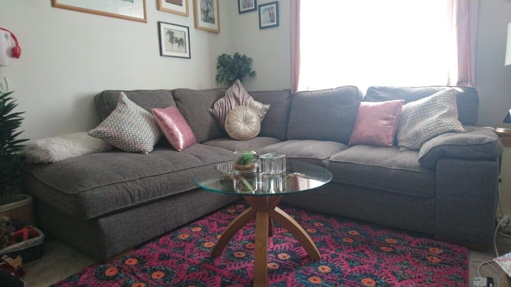 Grey Corner Sofa With Round Foot Stool From Oakfurniture