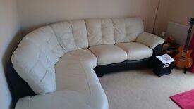 Black & white leather corner sofa in excellent condition