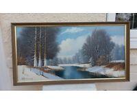 Original Oil painting 'Winter Scene' retro, 1960's