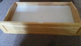 Two Pine effect under bed drawers on rollers
