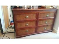 Solid wood and rattan chest of drawers The Pier