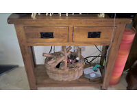 Rustic Solid Oak TV Stand or Side Table with 2 x small drawers - as NEW