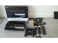 Sony PS3 with controls, wands, games and box