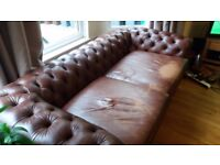 Leather large 2 seater sofa.