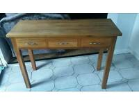 Solid oak console table with 3 drawers