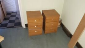 2 x pine effect beside drawers