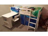 Cabin bed with pull-out desk and tent