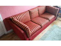 Dark red and gold 3 seater sofa - reduced to £60