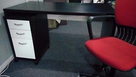 Large office desk, matching storage unit & chair