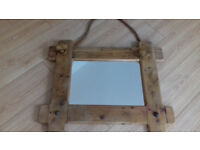 Mirror - unusual driftwood plank mirror with rope