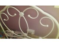 Single white metal framed bed from next