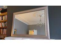 Silver-effect wood framed wall mirror