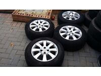 15 inch VAUXHALL ASTRA ( 4 STUD ) ALLOYS WITH EXCELLENT CONDITION TYRES. 4 × 100.CORSA ASTRA