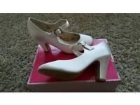 Ladies size 6 Ivory satin rainbow club shoes