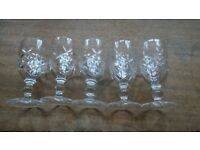 Set of 5 Vintage Cut Glass Sherry Glasses