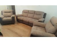 3 seater electric recliner sofa and 2 electric recliner chairs......in 2 tone grey suede leather