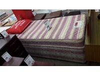 Pink + Cream Single Divan Bed + Mattress