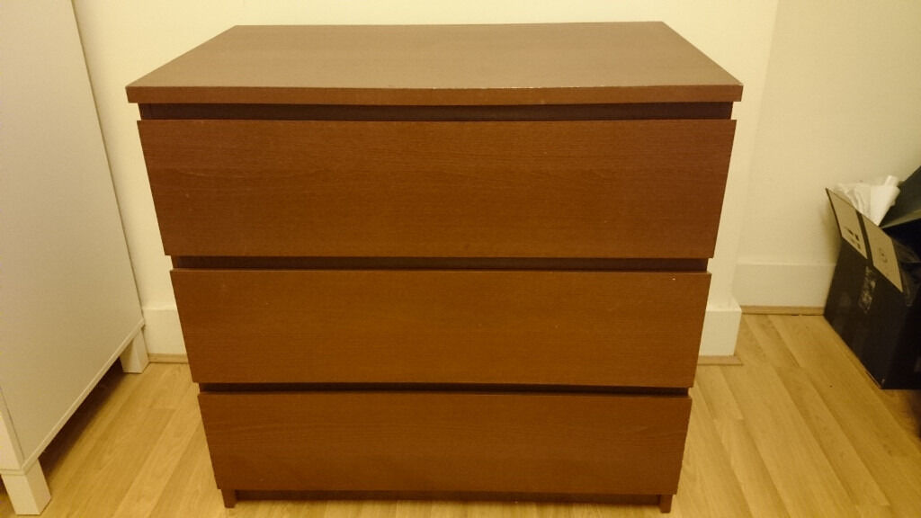 Ikea Malm Chest Of 3 Drawers Brown Stained Ash Veneer