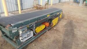"Portable Extendable Rubber Belt Conveyor, 24"" Wide x 10 ft to 19 ft long with hydraulic angle adjustment"