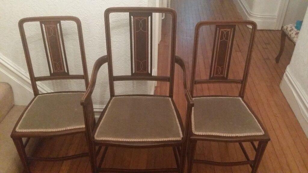 Set of three inlaid Edwardian bedroom chairs