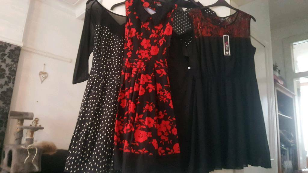 Lot of 4 vintage style rockabilly dresses, red and black size 16-18