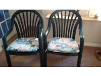 Pair of John Lewis green plastic garden armchairs, with seat pads. Very comfy, as new.